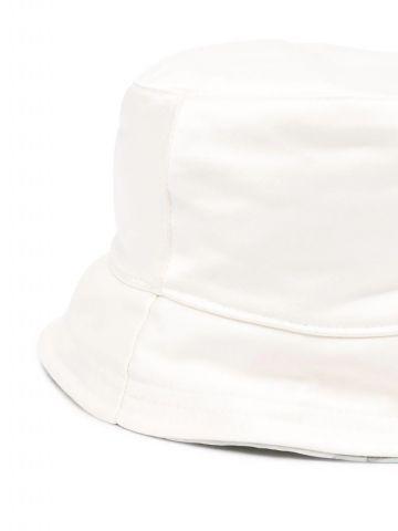 White bucket hat with logo