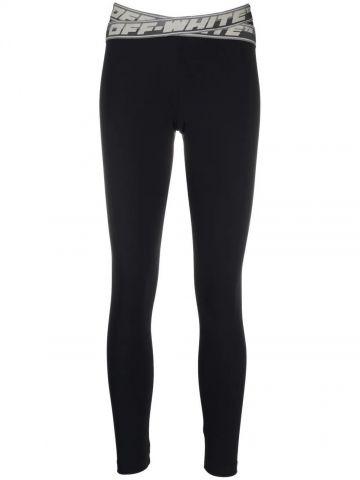 Black leggings with logo elasticated waist