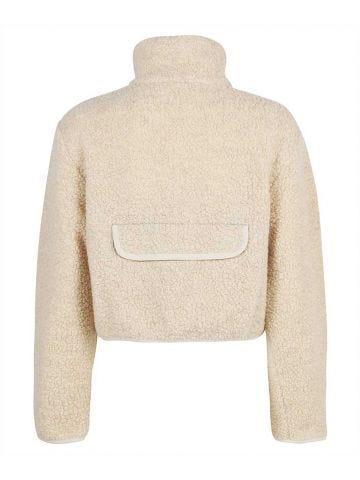Short beige Teddy jacket with logo