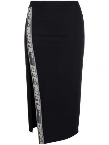 Black logo-tape detail high-waisted skirt