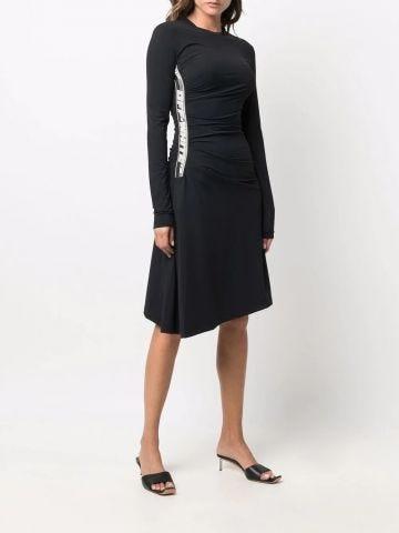 Black side print dress