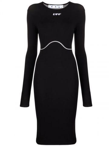 Black logo midi dress