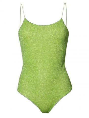 Green Lumière spaghetti-strap glitter swimsuit