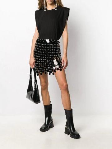 Mini skirt with black mirror effect circular discs