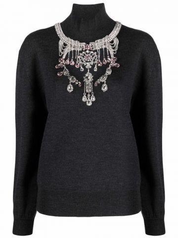 Grey turtleneck jumper with jewel detailing