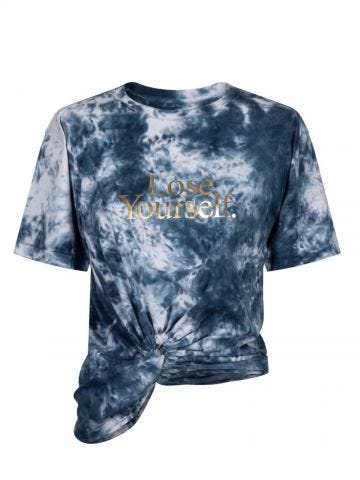 Tie-dye printed T-shirt with knot tie at waist