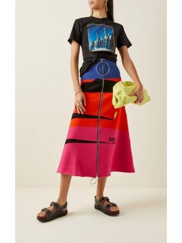 Paco Rabanne x Kimura Tsunehisa jacquard-knit midi skirt