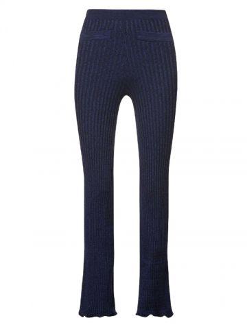 Paco Rabanne x Kimura Tsunehisa pantaloni blu svasati a vita alta in lana