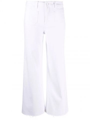 White cropped straight-leg trousers