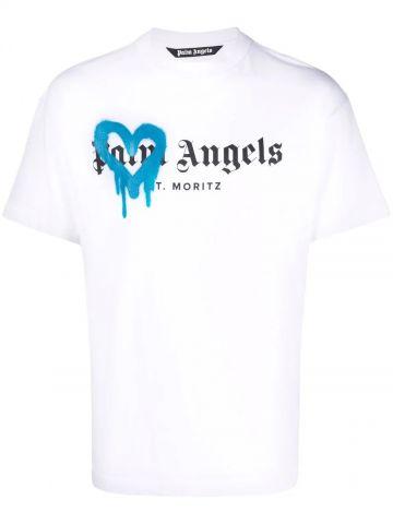 T-shirt bianca St. Moritz spruzzata
