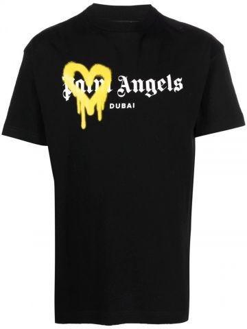 T-shirt nera Dubai spruzzata
