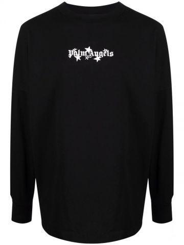 T-shirt nera con stelle cadenti