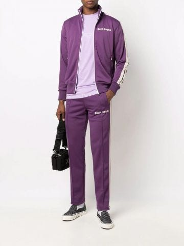 Purple trousers with logo