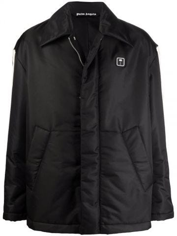 Black down jacket with side band