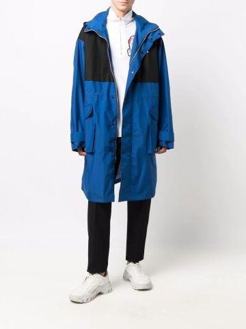 Blue parka coat with logo