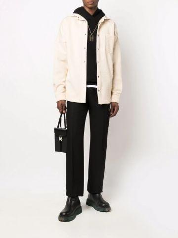 Beige bandana-embossed long-sleeve over shirt