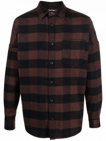 Brown and black logo checked print shirt