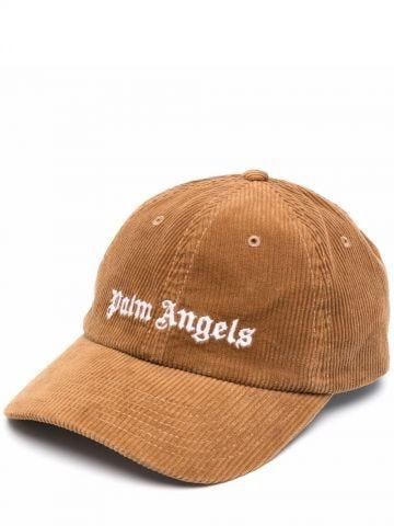 Cappello in velluto a coste beige con logo