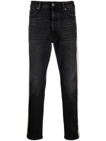 Black track denim pants