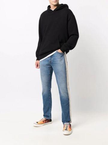 Jeans in denim a righe blu