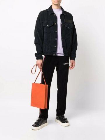 Black curved logo corduroy denim jacket