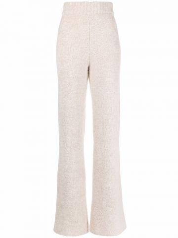 Pantaloni a gamba ampia beige