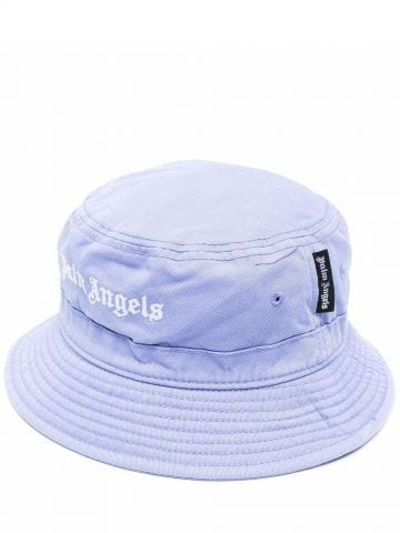 Lilac and white cotton logo-embroidered bucket hat