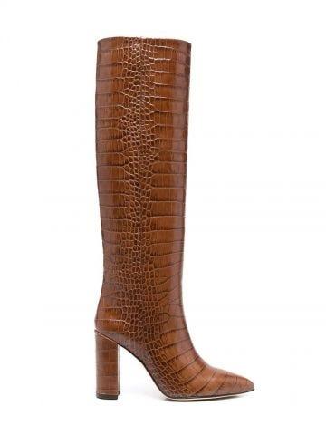 Brown crocodile-effect tube boots