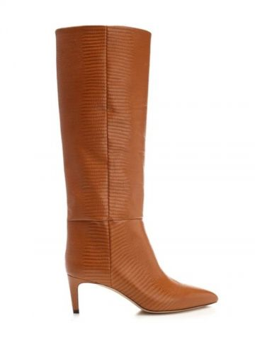 Brown knee-high embossed boots