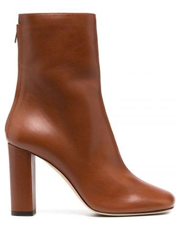 Brown zip-up calf-length boots