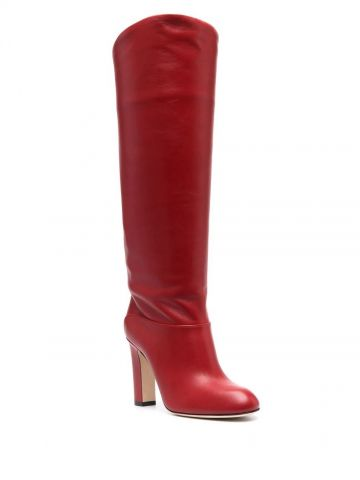 Red knee-length leather boots