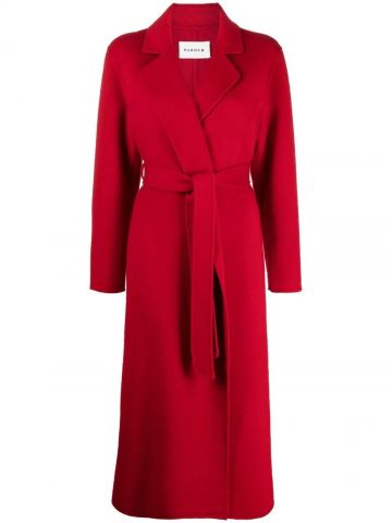 Red coat with belt
