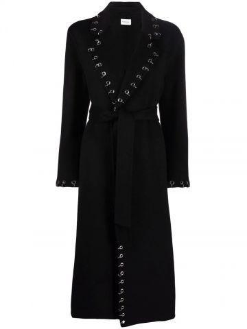 Black coat with eyelets