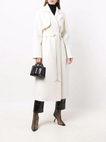 White belted-waist wool trench coat