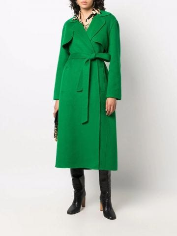 Green belted mid-length coat