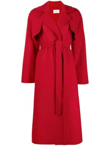 Red belted mid-length coat
