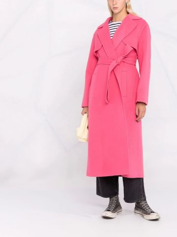 Pink belted mid-length coat