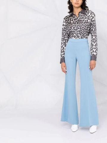 Blue high-waisted flared pants