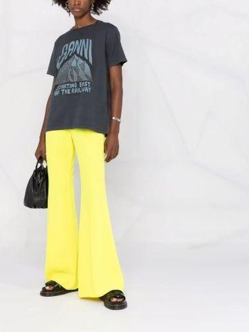Pantaloni svasati a vita alta gialli