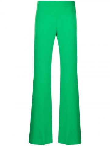 Green high-waisted flared pants
