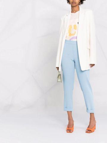 Blue crop high-waisted pants