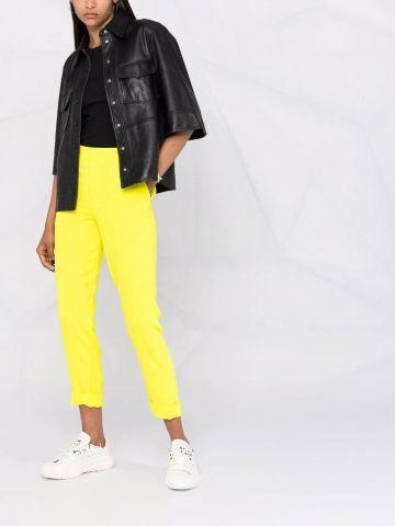 Yellow crop high-waisted pants