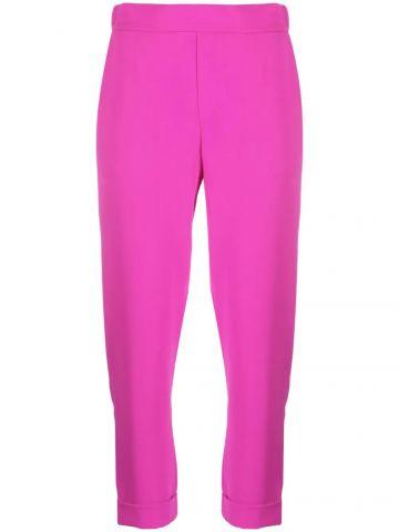 Fuchsia crop high-waisted pants