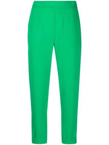 Green crop high-waisted pants