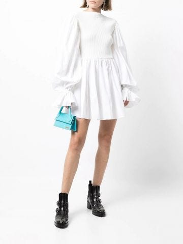 White ribbed-bodice balloon-sleeve dress