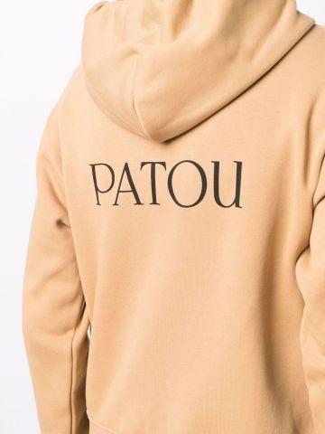 Beige logo-print hoodie