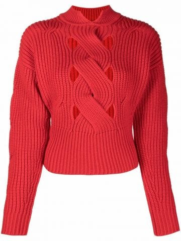 Red cable ribbed knit sweater