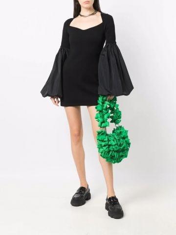 Black puff-sleeve mini dress
