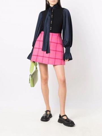 Pink high-waisted check skirt
