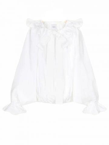 Drawstring puff sleeve top in white organic poplin